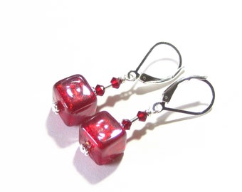 Murano Glass Red Cube Sterling Silver Earrings, Clip On Earrings, Venetian Jewelry, Italian Jewelry, Leverback Earrings, Gift Idea