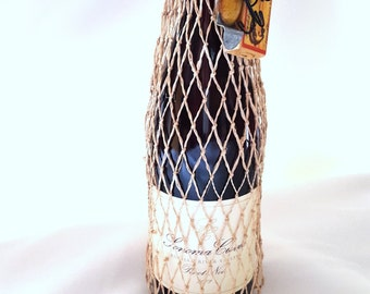 Fish Net Wine or Gift  Bag - Embellished with a Replica Heddon Lure with Box