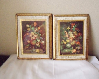 Two Small Florentine Toleware Pictures from Italy, Floral Florentine Renaissance Plaque