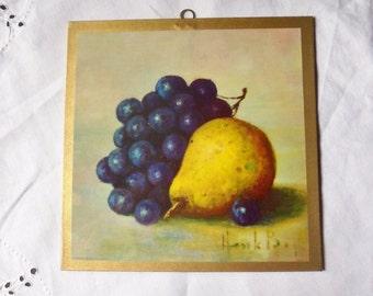 Pear and Grapes Still Life Trivet, Henk Bos Lithograph Wall Hanging, Donald Art Co Print