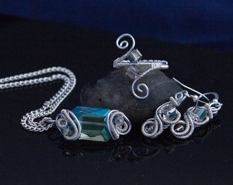 Wire Wrapped Jewelry, Emerald Jewelry Set, Wire Wrapped Crystal Jewelry, Unique Jewelry, Anniversary Gift, Gift for Women, Gift for Her