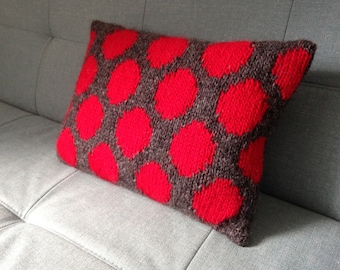 Pillow, Cushion, Teenagers Room, Knitted Pillow, UK Seller, Pure Wool, Polka Dots, Red And Grey,