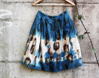 Hand dyed skirt, size S shibori dyed skirt, upcycled women's skirt, naturally dyed clothing