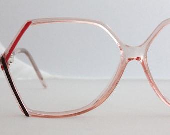 Vintage 80's Angular Peach Eyeglasses Frames