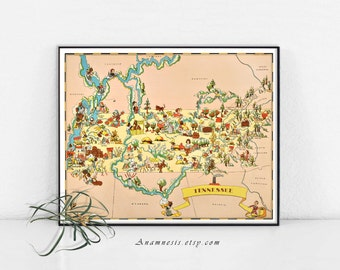 TENNESSEE MAP - Instant Digital Download - printable vintage map for framing, totes, dorm room, wedding gift, crafts, pillows, cards, tags