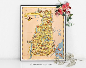 NEW HAMPSHIRE MAP - Instant Digital Download - printable picture map for framing, totes, towels, cards, clothes etc. - fun vintage map art