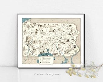 PENNSYLVANIA MAP - Instant Digital Download - printable vintage map for framing, weddings, nursery, totes, cards, crafts - fun retro art