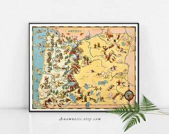 OREGON MAP - High Res Digital Image -  retro picture map to print and frame - pillows & totes - scrapbooking - charming house warming gift