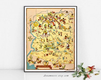 ARIZONA MAP - Enhanced Instant Download Image - 1935 picture map for framing, totes, pillows etc. - very fun vintage map art - home decor