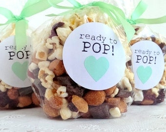 Ready to Pop! stickers - 20 - 2 inch circle stickers - baby shower envelope seals