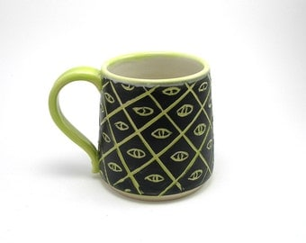 SALE! coffee mug, coffee cup, tea cup chartreuse and black eye of horus illuminati