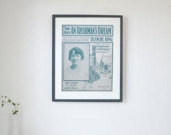 "Twas Only an Irishman's Dream - Vintage Piano Sheet Music Print - 16"" x 20"" Framed  FREE SHIPPING"