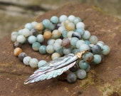 Feather knotted boho necklace - Abalone semi precious long layering jewelry, bohemian chic beach blues by Mollymoojewels