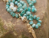 Mermaid boho beaded necklace - Long knotted beach inspired 'Sea Beauty' layering jewelry