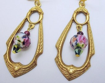 Art Noveau Brass and Lampwork Rose Vintage Style Earrings