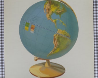 Vintage Large Globe Picture Flash Card || Peabody Picture Collection || Children's Decor, Assemblage, Altered Art, Collage, Scrapbook