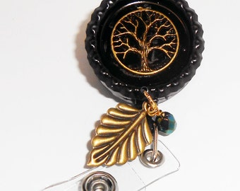 ID Badge Retractable Reel, Antiqued Brass Tree of Knowledge Id Badge Reel, Id Badge Holder, Nurse Id Badge Holder, Badge Reels, IDR2115a
