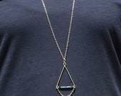 Hammered wire and bead triangle necklace