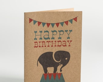 Children's Circus Elephant Birthday Card