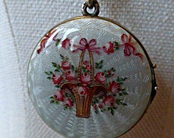 Vintage Sterling Silver Art Nouveau Guilloche Enamel Photo Locket With Pink Roses In A Basket And Bows