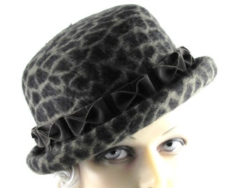 Womens Hat Brown Beige Fedora Bowler Fur Felt Long Haired Handmade Hat Bow Veil Derby Ascot Races Prom Art Deco Custom Made for Each Client