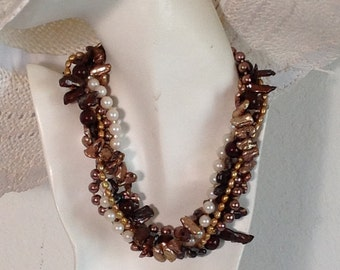 Multi Strand Torsade Statement Necklace, Bronze, Brown, Gold, Copper, Cultured Freshwater Pearls, .925 Sterling Silver