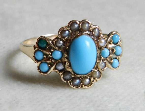 Victorian Turquoise Ring 1800s Rose Gold Engagement Ring ...