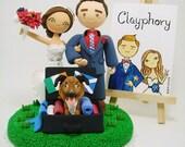 Lovely couple with dog custom wedding cake topper