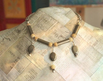 Beaded Bib Necklace, Recycled Jewelry, Metal Necklace, Rustic Jewelry, Pyrite Stone