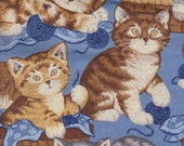 Knitting Crochet Cats in Baskets Playing with Wool ~ Retired Cat Fabric Blue FQ