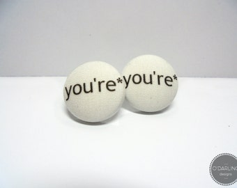 You're* Fabric Button Earrings