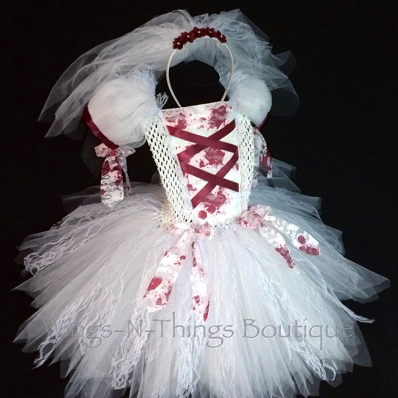 Zombie Bride Costume Princess Tutu Dress Set W Tulle Veil
