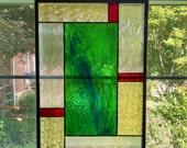 Geometric Stained Glass Window Panel - Green Swirl - Privacy Screen - Geometric Art - Green Red Yellow - Modern Decor - Contemporary Art