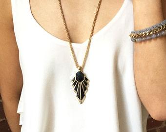 Geometric Necklace Gold, Black Deco Necklace, Long Pendant Necklace, Layering Necklace, Black and Gold, Pendant Necklace, LN83