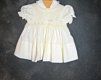 Baby Girl Yellow Smocked Floral Duck Dress by Baby Togs Size 3 - 6 Months