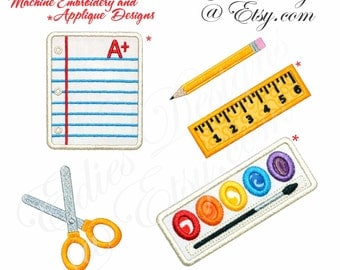School Supplies Machine Embroidery APPLIQUÉ Designs Machine Embroidery Digital Download