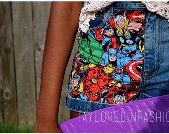 Marvel Avengers High Waisted Shorts ALL SIZES