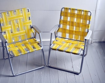Pair of Vintage Child's Aluminum Webbed Lawn Chairs