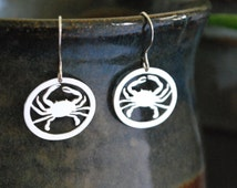 Silver Crab Earrings - Hand Pierced Maryland Blue Crab Silhouette - Nautical Jewelry - Portion of Proceeds to Chesapeake Bay Trust Charity