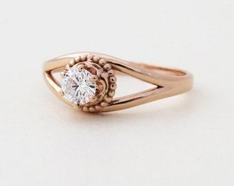 Unique Engagement Ring, Antique Style Engagement Ring, Diamond Engagement Ring, Vintage Style Engagement Ring, Rose Gold Engagement Ring