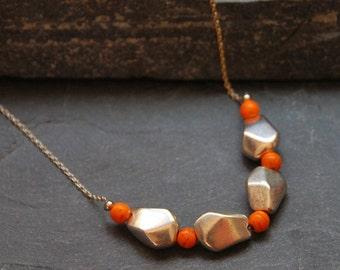 Bohemian Necklace, Primitive Necklace, Long Ethnic Necklace, Beaded Boho Necklace, Geometric Jewelry, Orange Howlite Necklace, 1093