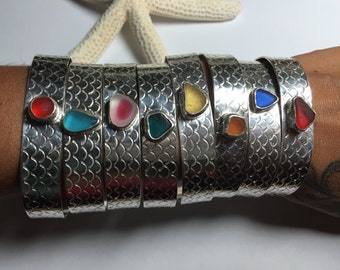 Sea Glass Wide Band Cuff Sm/Med Mermaid Scale Stamped Sterling Silver Rare Colors