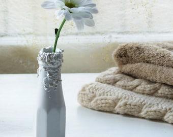 Mini Vase. Ketchup bottle ceramic vase from the Truffle range of flower vases. Slip cast ceramic design with porcelain ceramic texture.