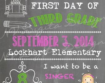 BACK TO SCHOOL Chalk Sign- First day of school chalkboard- Digital File