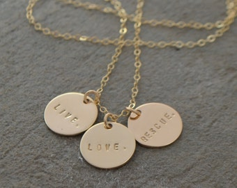 Gold Disc Name Necklace - Gold Disc Necklace - Initial Necklace