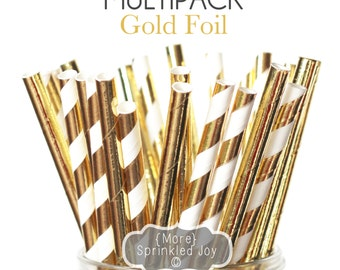 GOLD FOIL Multipack, Straws, Gold, Solid Gold, Stripes, 25 Straws, Shower, Bridal, Celebration, New Years, Wedding, Christmas, New Year