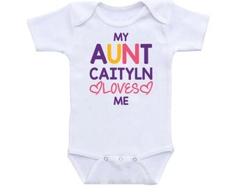 Personalized gift uncle gift onesie uncle baby onesie uncle baby onesie personalized baby clothes my aunt caitlyn loves me one piece boy girls baby shower negle Choice Image