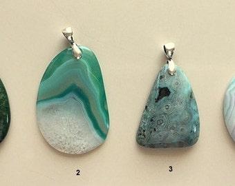 Natural Agate Pendants - Large Agate Pendants -Dragon Vein and Crazy Lace Agate Pendant