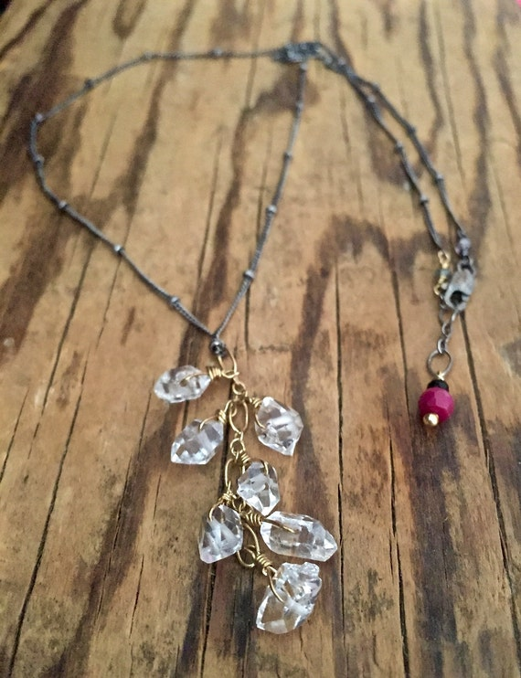 Herkimer Diamond Cascade Necklace , April Birthstone , Crown Chakra , Minimalist , Mixed Metal healing crystals
