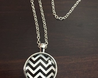 chevron necklace, black necklace, chevron jewelry, chevron pendant, black and white chevron, glass necklace, silver necklace, necklace